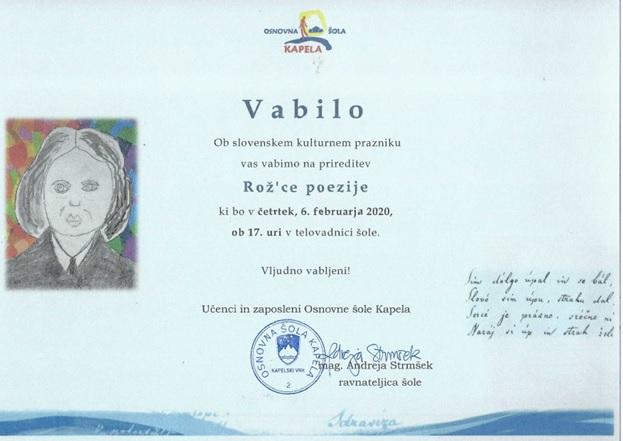 Prijazno vabljeni na prireditev ob slovenskem kulturnem prazniku
